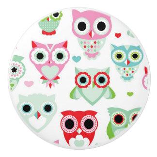 pastel powder color owl background ceramic knob