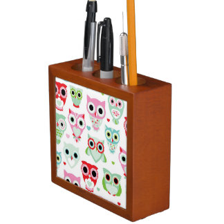 pastel powder color owl background desk organiser