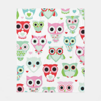 pastel powder color owl background fleece blanket