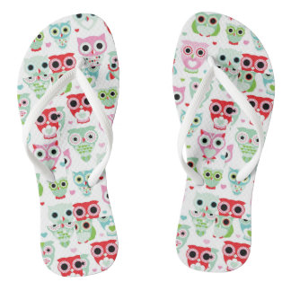 pastel powder color owl background flip flops