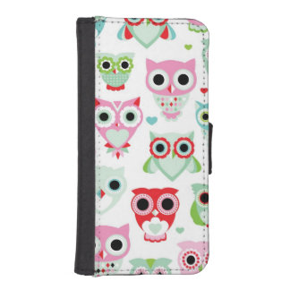 pastel powder color owl background iPhone SE/5/5s wallet case