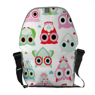 pastel powder color owl background messenger bag