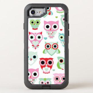 pastel powder color owl background OtterBox defender iPhone 8/7 case