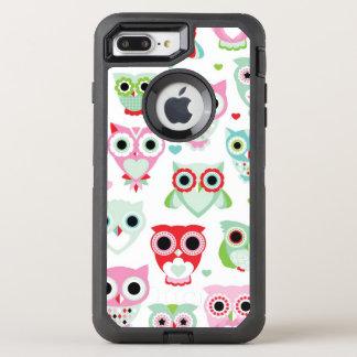 pastel powder color owl background OtterBox defender iPhone 8 plus/7 plus case