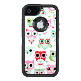 pastel powder color owl background OtterBox defender iPhone case
