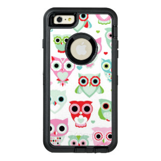 pastel powder color owl background OtterBox defender iPhone case