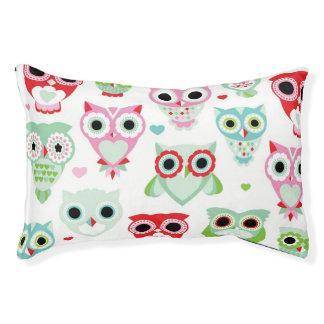 pastel powder color owl background pet bed