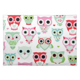 pastel powder color owl background placemat