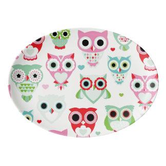 pastel powder color owl background porcelain serving platter