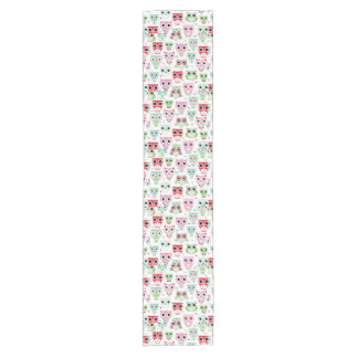 pastel powder color owl background short table runner