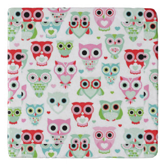 pastel powder color owl background trivet