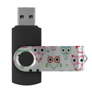 pastel powder color owl background USB flash drive