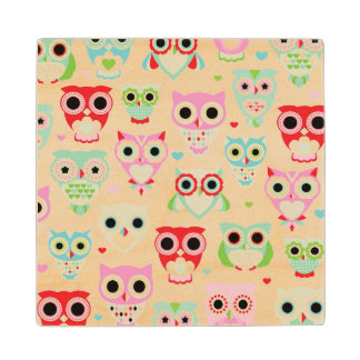 pastel powder color owl background wood coaster