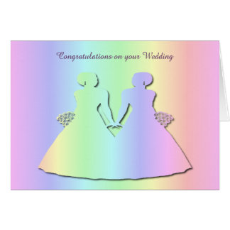 Pastel Pride Gay Wedding Card for Brides