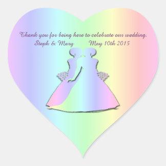 Pastel Pride Gay Wedding Heart Sticker for Brides