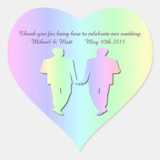 Pastel Pride Gay Wedding Heart Sticker for Grooms