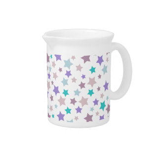 Pastel Purple and Pink stars pattern on white Pitcher