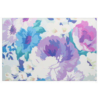 Pastel Purple & Blue Watercolors Flowers Pattern Fabric