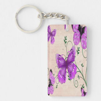 Pastel Purple Butterflies Key Ring