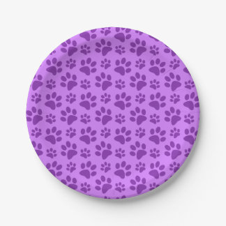 Pastel purple dog paw print paper plate