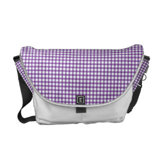 Pastel Purple Gingham Check Pattern Commuter Bags