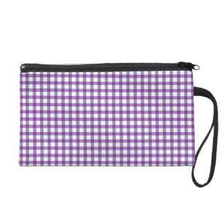 Pastel Purple Gingham Check Pattern Wristlet