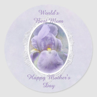 Pastel Purple Iris Mother's Day Sticker