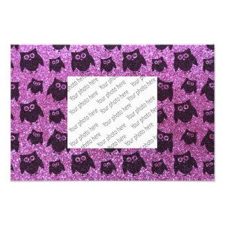 Pastel purple owl glitter pattern photo