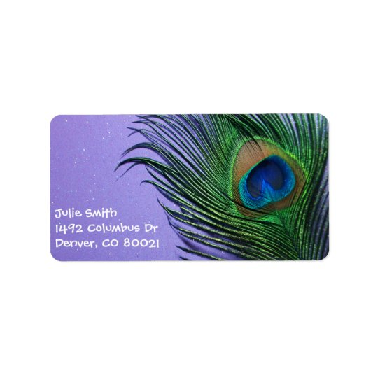 Pastel Purple Peacock Feather Still LIfe Address Label