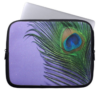 Pastel Purple Peacock Feather Still LIfe Laptop Sleeve