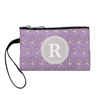 Pastel Purple Trendy Cute Nautical Anchor Monogram Coin Purse