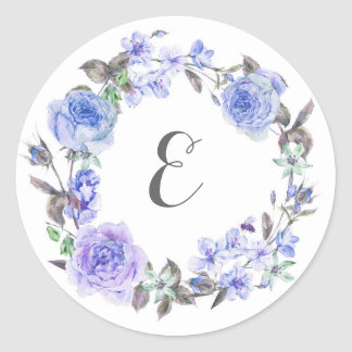 Pastel Purple Watercolor Floral | Monogram Round Sticker