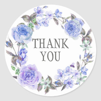 Pastel Purple Watercolor Floral  | Thank You Round Sticker