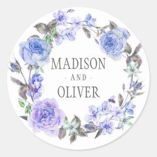 Pastel Purple Watercolor Floral | Wedding Round Sticker