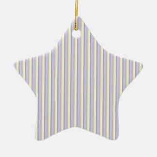 Pastel Purple, Yellow, White Vertical Stripes Ceramic Star Decoration