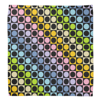 Pastel Rainbow and Black Squares and Polka Dots Head Kerchiefs