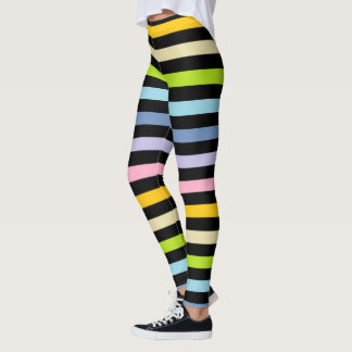 Pastel Rainbow and Black Stripes Leggings