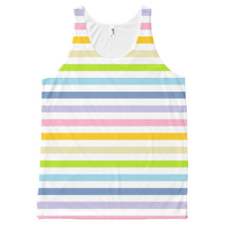 Pastel Rainbow and White Stripes All-Over Print Tank Top