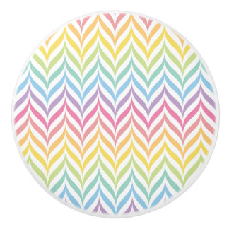 Pastel Rainbow Arrow Feather Chevron Pattern Ceramic Knob