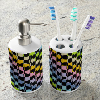 Pastel Rainbow Black Outlined Squares Soap Dispenser And Toothbrush Holder