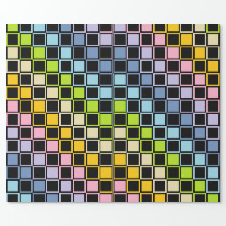 Pastel Rainbow Black Outlined Squares Wrapping Paper