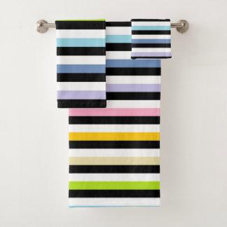 Pastel Rainbow Black White Stripes Bath Towel Set