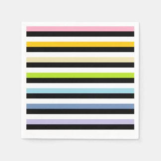 Pastel Rainbow Black White Stripes Disposable Serviette