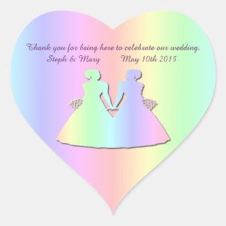 Pastel Rainbow Brides Gay Wedding Heart Sticker