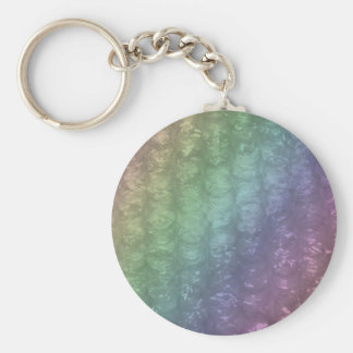 Pastel Rainbow Bubble Wrap Effect Basic Round Button Key Ring