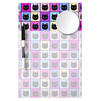 Pastel Rainbow Cat Pattern Dry Erase Board With Mirror