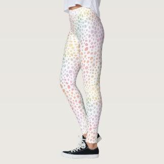 Pastel Rainbow Cheetah Watercolor Whitespace Leggings