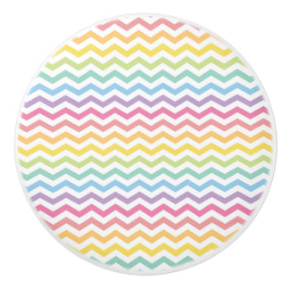 Pastel Rainbow Chevron Pattern Ceramic Knob