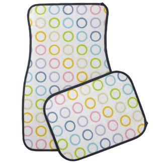 Pastel Rainbow Circles White Car Mat