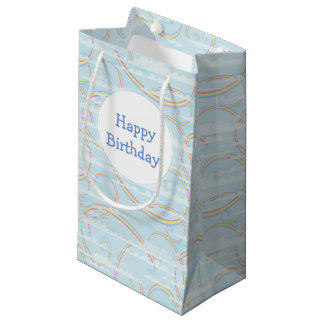 Pastel Rainbow, Clouds, Blue Sky, Swirl, Colorful Small Gift Bag